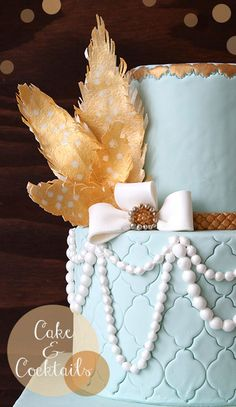 Aqua & Gold Wedding Cake Inspired by The Great Gatsby