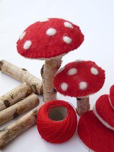 DIY Mushrooms made of felt and sticks Mushroom Crafts, Felt Mushroom, Mushroom Decor, Felt Diy, Felt Crafts, Diy And Crafts, Crafts For Kids, Autumn Crafts, Christmas Crafts