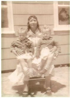 Elizabeth Sammons-Pierce holding Paulinee Pierce, and Paula Pierce - Nanticoke/Delaware - circa 1950