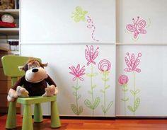 Decorazione stickers fiori - Decorare le pareti della cameretta con fiori