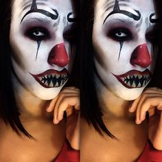 Evil Scary Clown Makeup Idea / pairs great with All-White Contact lenses ~ http://www.pinterest.com/pin/350717889705763104/