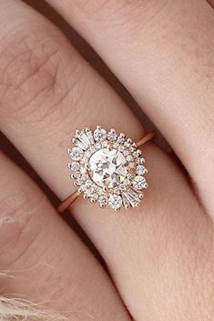 Women's 14K Rose Gold 2.00 Ct. Round Cut Halo Diamond Wedding Engagement Ring #MeeraJewels #SolitairewithAccents