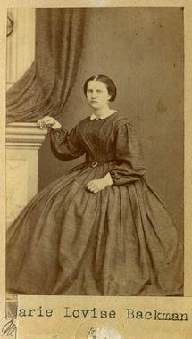 """Marie Lovise Bachman, married Andford"" by Josefina Rydholm, Swedish, 1860's. Bohusläns Museum, nr. UMFA53226:0111"