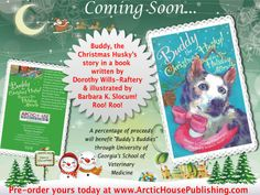 """""""Buddy, the Christmas Husky,"""" Based on A True Holiday Miracle!  """"An injured, starving homeless Siberian Husky is rescued by a Good Samaritan on Christmas Day. Buddy discovers that not all humans are mean and uncaring. His long journey brings him to find compassion, friendship, and a loving mom to call his own.""""  A % of proceeds will be donated to """"Buddy's Buddies"""" in care of the University of Georgia School of Veterinary Medicine for Buddy's medical expenses, and those of other dogs in need."""