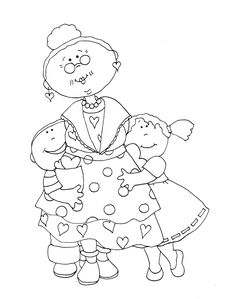 Free Dearie Dolls Digi Stamps: Grandma's Valentine Hand Embroidery Designs, Embroidery Stitches, Embroidery Patterns, Colouring Pages, Adult Coloring Pages, Laura Rodrigues, Digital Stamps Free, Card Sentiments, Art Impressions