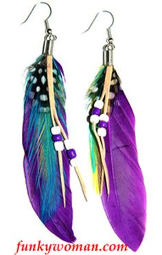 #Purple Natural #Feather #Earrings These natural feather earrings are full of fun and colour!  Perfect match for many of our scarves. $10 Visit: http://stores.funkywoman.com/-strse-141/Natural-Feather-Earrings--dsh-/Detail.bok