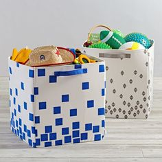 Scatter Print Floor Bin (Blue Squares)