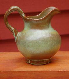 Vintage Frankoma Pottery Prairie Green creamer