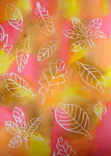 You need: white drawing sheet A4 format tissue paper in autumn colours brush jar with water white crayons Show different shapes of leaves. D...