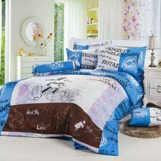 Blue Gray Mickey Mouse Queen Size Bedding Sets - Light Up House Girls Bedding Sets, Bedroom Sets, Disney Bedding, Disney Bedrooms, Pinterest Home, Disney Home Decor, Up House, Queen Size Bedding, My New Room