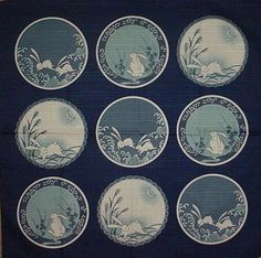 This furoshiki features rabbits in various circular scenes on a blue base. Furoshiki are traditional Japanese wrapping cloths. This ones about x x and is high quality cotton. And each of the circles in the design is about 5 - 5 in diameter. Japanese Textiles, Japanese Fabric, Japanese Art, Small Japanese Tattoo, Furoshiki, Japanese Wrapping, Rabbit Pictures, Japon Illustration, Rabbit Tattoos