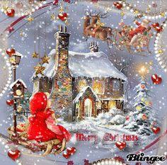 Merry Christmas Gif, Beautiful Christmas Cards, Vintage Christmas Images, Christmas Scenes, Christmas Past, Christmas Wishes, Animated Christmas Pictures, Christmas Photos, Xmas Cards
