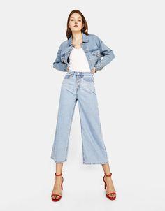 3e2cc1407ebc Wide-leg jeans REF 0025 534 The model is wearing size  36