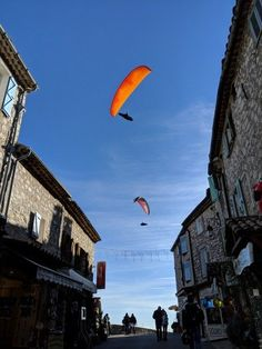 paragliders over Gourdon Alpes Maritimes France Antibes France, Red Houses, Nice France, 12th Century, Main Street, Nice View, Castle, Traveling, Good Things