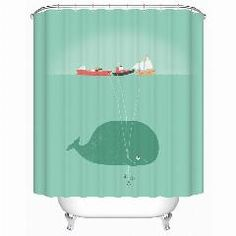 [ 24% OFF ] New Naughty Cute Whale Waterproof Shower Curtain Bathroom Curtain Eco-Friendly Bathroom Products Shower Curtains Y-136
