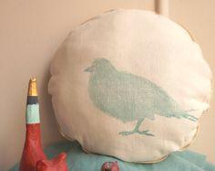 Kussen ronde linograve patroon vogel