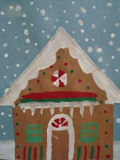 gingerbread house- tempera paint, grade 7