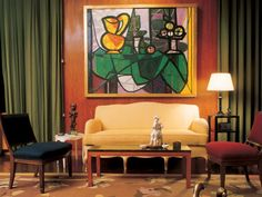 This is an apartment interior which Jean-Michel Frank designed in 1937 for Nelson Rockefeller. It is a very simple yet elegant design. I love the anomaly that the painting provides to the space. It really helps to tie together each colour used in this interiors palette, while acting as an interesting focal point.