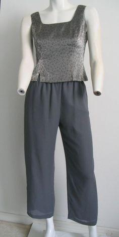 DONNA RICCO NY  2pc Top Pants Sheer Gray Metallic Silver Evening Formal Size 4 #DonnaRicco #PantSuit #EveningFormal