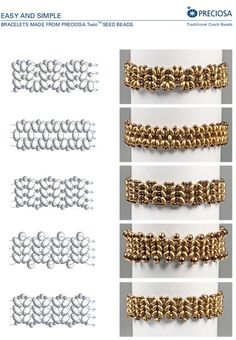 """superduo - samples.  Free PDF for """"easy bracelets""""  #Seed #Bead #Tutorials"""