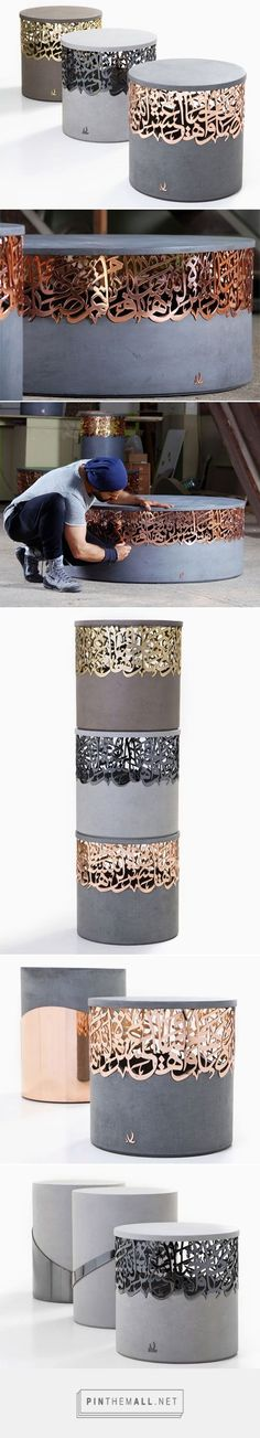 Metal and concrete stools that integrate Arabic calligraphy - created via http://pinthemall.net