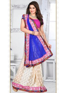 Beige Jacquard Half N Half Saree With Patch Border