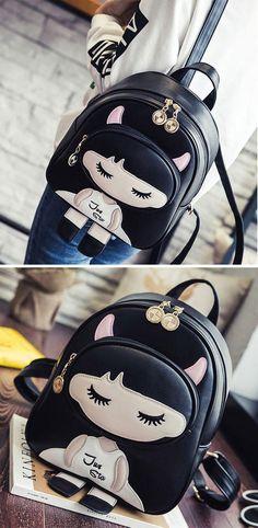 Lovely PU Splicing Cartoon Close Eyes Girl Black Leisure School Backpacks for big sale! #cartoon #pu #lovely #girl #backpack #bag #school #college #student #Book #girl #retro #travel