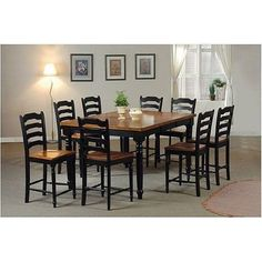 Two Tone Black Counter Height Dining Set By Coaster Furniture - http://www.furniturendecor.com/two-tone-black-counter-height-dining-set-by-coaster/ - Categories:Dining Room Furniture, Dining Room Sets, Furniture, Home and Kitchen