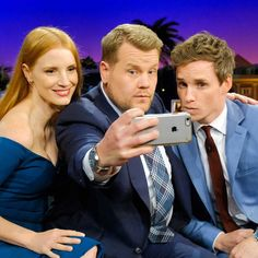 Jessica Chastain and Eddie Redmayne and guy with camera