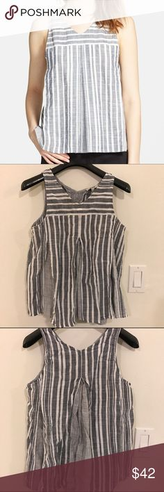 Madewell Mix Stripe Trapeze Tank Great condition!! No trades. Crisp pleats enhance the swingy silhouette of a cotton trapeze tank patterned in a mix of heathered stripes. Madewell Tops Tank Tops
