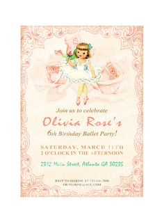 Digital PRINTABLE Vintage Celebrate Birthday Ballerina Dancer Rose Party Ballet Girl Daughter Princess Children Invitation Cards Sheet IN17. $10.00, via Etsy.