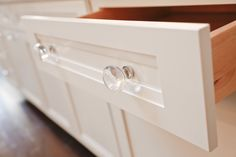 """Close up of Emtek's Georgetown crystal knob as featured in House Beautiful's """"Kitchen of the Year""""."""