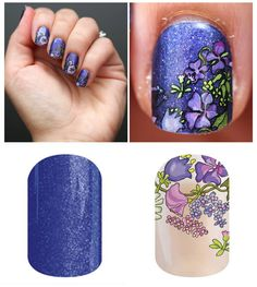 Isn't this LAYERED look GORGEOUS!!  Dancing Lilacs & Stargazing Buy 3 sheets get 1 sheet FREE!! Remember 1 sheet does 2 manis and 2 pedis WITH strips left over for accent nails! Order yours here: http://www.gjam.jamberrynails.net/ Find me on facebook: https://www.facebook.com/gjamnails