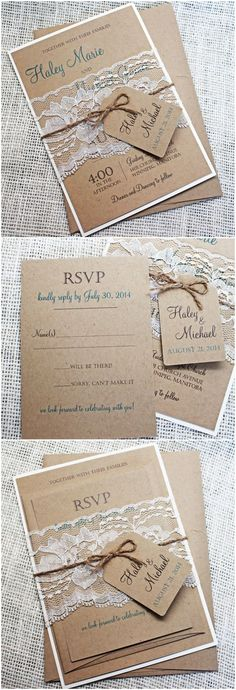 Great Picture of Rustic Lace Wedding Invitations Rustic Lace Wedding Invitations Top 10 Rustic Wedding Invitations To Wow Your Guests Burlap Wedding Invitations, Diy Invitations, Wedding Invitation Suite, Wedding Stationary, Invitation Wording, Invitation Design, Burlap Weddings, Invitation Ideas, Invites