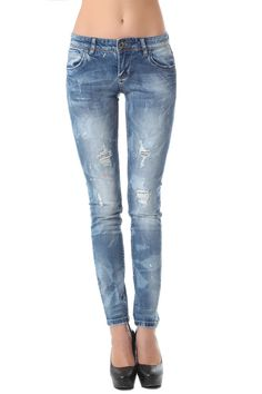 Rinse wash skinny jean with paint splatter - 64,90 € - https://q2shop.com/