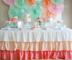 Mint, Peach, Coral, Pink, Aqua Dessert Table. Bridal Shower, Baby Shower, Mother's Day, Birthday Party.