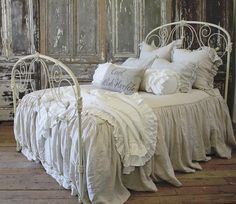 Antique Parisian Iron Bed Creamy White from Full Bloom Cottage