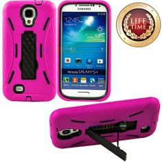 "Amazon.com: myLife (TM) Hot Pink + Black Shockproof Survivor (Built In Kickstand) Case for the Samsung Galaxy S4 Phone ""Fits Models: I9500, ..."