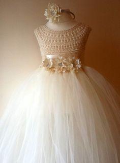 Vestido de princesa tejido a crochet con tul, para niñas.