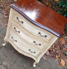 "French Provincial nightstand or small chest by Drexel. Three drawers. Structurally solid, just refinished and painted. 24"" W x 17"" D x 30"" H, $225 ~Brightleaf Interiors"