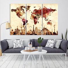 10812 - Large Wall Art World Map Canvas Print- Custom World Map Push Pin Wall Art- Custom World Map Canvas Poster Print- Personalized Wall Art World Map Canvas, World Map Wall Art, World Map Poster, Wall Maps, Large Canvas Wall Art, Extra Large Wall Art, Canvas Prints, Canvas Art, Beach Canvas