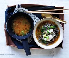 Miso with soba, poached eggs and spring onion recipe Japanese Soba Noodles, Spring Onion Recipes, Barbecued Lamb, Miso Recipe, Quick Soup Recipes, Lamb Ribs, Sauteed Greens, Mexican Breakfast Recipes, Noodle Soup