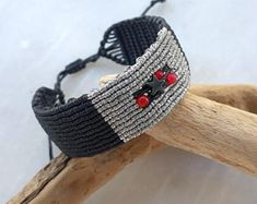 Macrame Bracelet Wide- Woven Bracelet with Beads - Adjustable Bracelet for Women Bracelet Knots, Crochet Bracelet, Macrame Bracelets, Ankle Bracelets, Handmade Bracelets, Macrame Necklace, Macrame Jewelry, Micro Braids, Metal Fashion