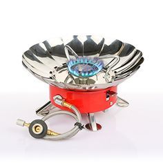 """Etekcity E-gear Portable Collapsible Outdoor Windproof Camping Stove Butane Propane Burner for Gas Canisters with Threaded 7/16"""" NS Valve (EN 417) Etekcity http://www.amazon.com/dp/B00Q6QT99A/ref=cm_sw_r_pi_dp_gkD5vb1F7GYDK"""