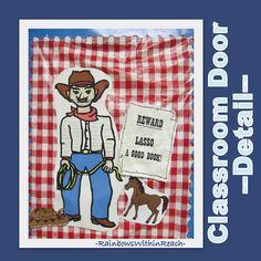 photo of: Classroom Door Decoration Detail: Cowboy Western Theme