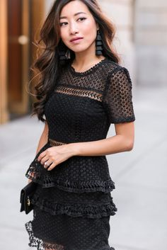 what to wear to a fall or winter wedding (just add black tights here) ~ self portrait look for less little black lace dress