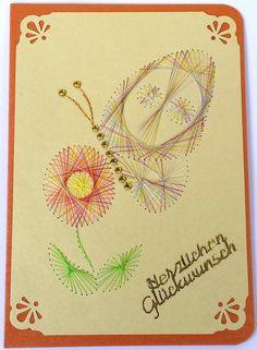 FADENGRAFIK+Grußkarte+Schmetterling+08+Geburtstag+von+Rene´s+Fadengrafiken+auf+DaWanda.com