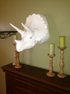 Dinosaur Head faux taxidermy wall art High gloss white Triceratops. $179.00, via Etsy. Why don't I have this?
