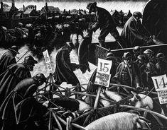 December: Fat Stock Market - The Farmer's Year - Clare Leighton - 1933 Rockwell Kent, Norman Rockwell, Auckland Art Gallery, Scratchboard, European Paintings, Wood Engraving, Gravure, Woodblock Print, Art Fair
