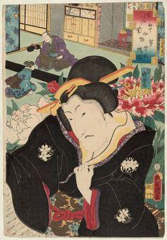 Utagawa Kunisada: No. 45, Hashihime: Actor Nakayama Tomisaburô I, from the series Fifty-four Chapters of Edo Purple (Edo murasaki gojûyo-jô) - Museum of Fine Arts